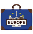 travel bag with eu flag and landmarks of europe vector image vector image