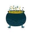 witch cauldron with boiling potion magic object vector image