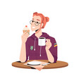 woman eating cupcake and drinking coffee isolated vector image