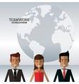character people teamwork globe work vector image