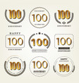 100 years anniversary logo set vector image
