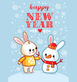 a hare and snowman are standing in snowy glade vector image