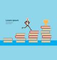 arab businessman in business suit run up on books vector image