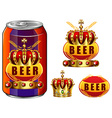 Beer in can and logo design vector image vector image