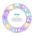 book thin line banner card circle vector image