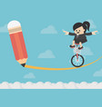 business woman riding on the bike on risk vector image vector image