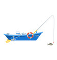 cartoon fishing boat isolated on white background vector image vector image