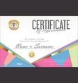 certificate retro design template 19 vector image vector image