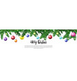 christmas tree branches with colorful balls vector image vector image