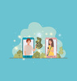 couple in smartphone on landscape vector image vector image