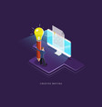 creative writing flat isometric concept vector image
