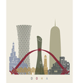 Doha skyline poster vector image vector image
