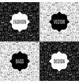fashion bags pattern card set vector image vector image