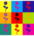 Flower sign Pop-art style icons set vector image vector image