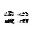 four transport vehicles ship truck bus train vector image