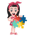 girl with puzzle on white background vector image
