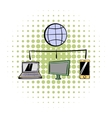 Globe with computers and mobile phone comics icon vector image vector image