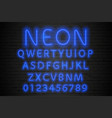 glowing blue neon alphabet neon letters and vector image