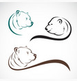group bear head design on white background vector image vector image
