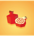 half of pomegranate icon isolated vector image vector image