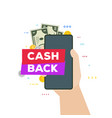 hand and phone with cash back banner vector image vector image