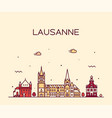 lausanne skyline switzerland a linear style vector image