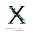 letter x watercolor floral background vector image vector image