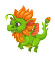 little cute green dragon fantasy animal funny vector image vector image