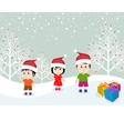Merry christmas with happy kids vector image vector image