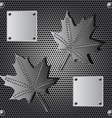 metal shield maple leaf background with rivets vector image vector image