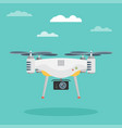 remote aerial drone with a camera flat design vector image vector image