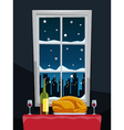 Romantic dinner with turkey on table near window vector image
