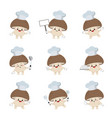 set cute mushroom chef cartoon characters vector image vector image
