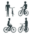 set of dark silhouettes of bikes and cyclists vector image