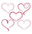 set of red decorated hearts on white background vector image