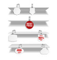 shelves with wobbler realistic discount tags vector image