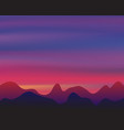 silhouette mountain on sunset background twilight vector image vector image