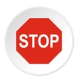 Stop sign icon flat style vector image vector image