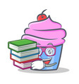 student cupcake character cartoon style with book vector image vector image