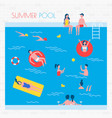 summer pool with people and inflatable things vector image vector image