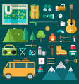 Tourist Equipment and Objects Set of Icons and in vector image vector image