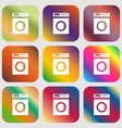 washing machine icon sign Nine buttons with vector image
