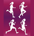 white female running silhouette set vector image vector image