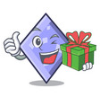 with gift rhombus mascot cartoon style vector image
