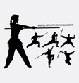 Wushu with weapon martial arts sport silhouette vector image vector image