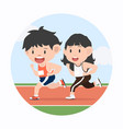 young man and woman jogging marathon in racetrack vector image