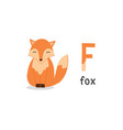 alphabet letter f and fox vector image