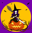 beautiful sorceress isolated sits on pumpkin vector image vector image
