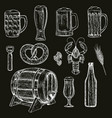 beer icons on black background vector image