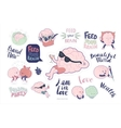 Brain stickers feed and leisure set vector image